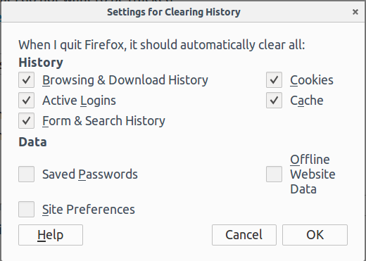 Change Setting for Clearing History Manually Firefox
