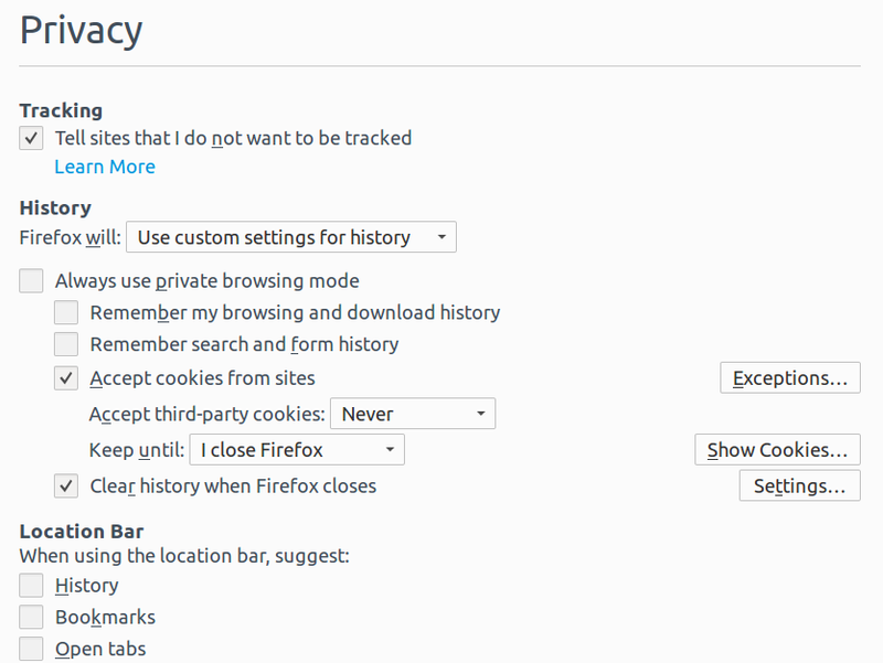 Manual privacy setting Firefox
