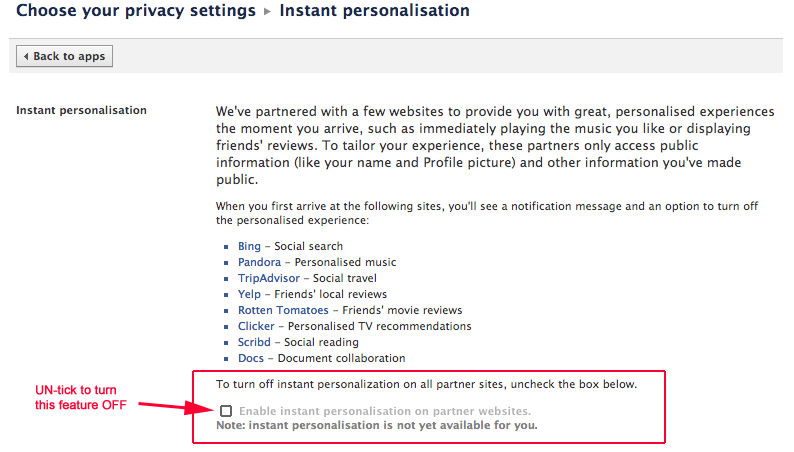 Turn Off Instant Personalisation