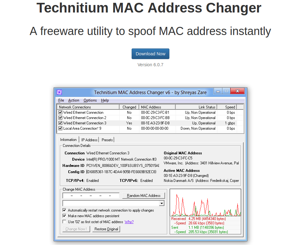 mac address changer software free download